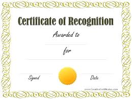Printable Awards Templates Recognition Certificate Template Free Of Download Editable
