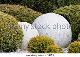 Stone Ball Garden Decoration Adorable Park Garden Stone Ball Bushes Bush Shape Decoration Granite
