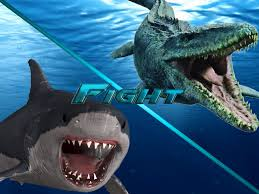Image result for megalodon vs mosasaurus