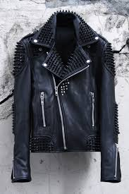 custom quilting biker black stud jacket