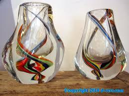 pair of italian murano swirled design art glass vases from the 20th century
