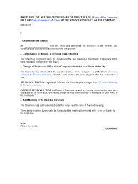board of directors minutes of meeting template minutes for change of registered office