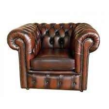 chesterfield antique leather armchair sofa suite