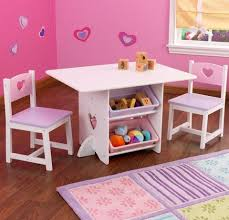 kidkraft round storage table chair set white pink
