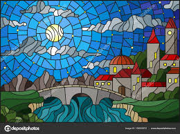 ilration in stained glass style with the old town and bridge over a river with mountains