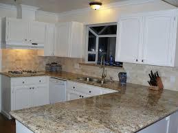 Kitchen, : Exquisite U Shape Kitchen Design Ideas Using White Wood Kitchen  Cabinet Including Cream Marble Granite Countertop And Cream Limestone Tile  ...