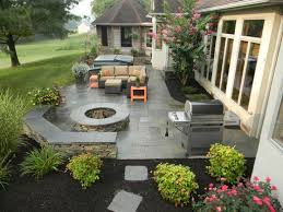 Interesting Concrete Patio Designs With Fire Pit Paver Vs Stamped Which Is Best Design Ideas