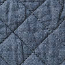 Cotton Denim Quilt Cushion Cover 43x43cm Blue &  Adamdwight.com
