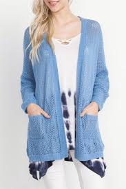 Open Weave Cardigan With Front Pockets And Dolman Sleeves