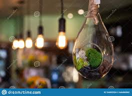 Light Bistro Modern Light Bulb In Eco Friendly Bistro Stock Photo Image