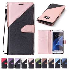 for samsung galaxy s7 edge wallets cases thick pu leather case with card slot hand strap sand beach surface design customize phone cases mobile phone case