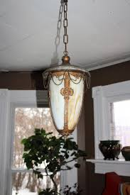 Antique Art Nouveau Pendant Ceiling Light Fixture Bent Slag Glass