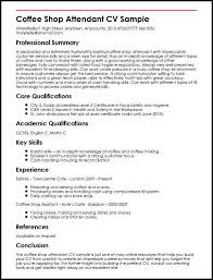 Excellent Cv Coffee Shop Attendant Cv Sample Myperfectcv