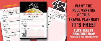 Free Travel Planner Travel Planner Printable For Single Trips Its Free Mishventurer