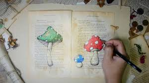 1920x1080 drawing mushrooms on old book pages