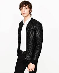 faux leather quilted er jacket