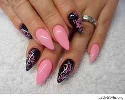 pink and black gel nail design