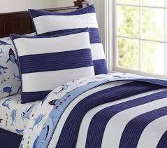 rugby stripe quilt twin navy white