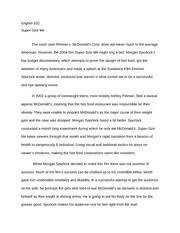 supersize me essay mcsupersize analysis morgan spurlock director  3 pages essay on the movie super size me