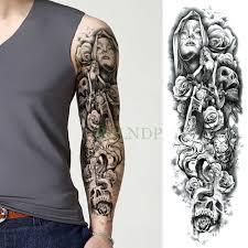водонепроницаемая временная татуировка наклейка череп мотоцикл роза