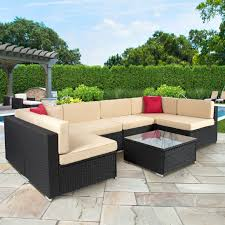 pc outdoor patio garden furniture wicker rattan sofa set black