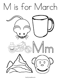 Small Picture M is for March Coloring Page Twisty Noodle