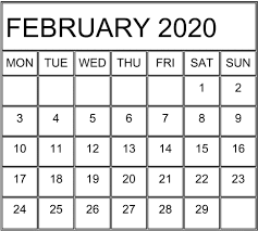 February 2020 Calendar Template Printable February 2020 Calendar Free Template Free Latest Calendar