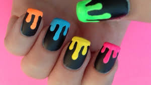 Dripping Neon Paint Nail Art - YouTube