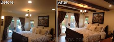 Before And After Photo Of A Bedroomu0027s Ceiling Remodeled With Wood Style  Beams.