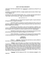 Joint Partnership Agreement Template Microsoft Word Joint Venture Agreement V24DOC Joint Venture 10
