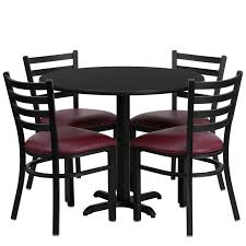 36 round table set with 4 ladder back metal chairs with burdy vinyl seat 4 table top laminate options available from 245 00 in skutchi com