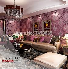 Living Room Designes Cool Luxury Modern 48D Embosswed Background Wallpaper For Living Room Pink