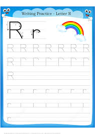 Letter R Is For Rainbow Handwriting Practice Worksheet
