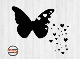 hearts silhouette butterfly hearts svg butterflies hearts dxf png silhouette