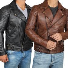 details about men s asymmetrical brown black lambskin real distressed leather jacket for men