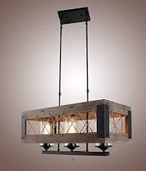 Kitchen island lights Industrial Image Unavailable Amazoncom Wood Rectangular Pendant Lighting Chandeliers Kitchen Island
