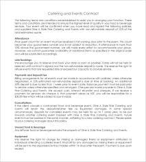 sample catering and events contract template free wedding catering contract sample