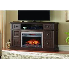 media console infrared electric fireplace in dark brown cherry finish