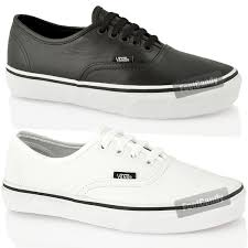 image is loading authentic vans mens womens black white leather sneakers