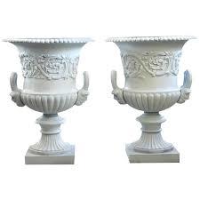 large victorian cast iron garden urns