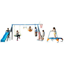 fitness reality kids the ultimate 8 station sports series metal swing set with basketball and