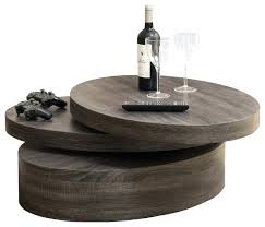 kitchen rotating coffee table oval mod wood contemporary triplo round swivel