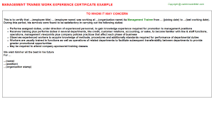 Trainee Work Experience Certificates Experience Letters Templates