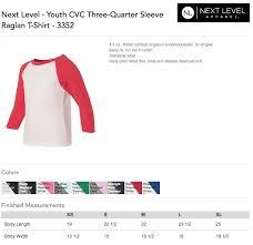 Next Level Kids Size Chart Next Level Youth Cvc Three Quarter Sleeve Raglan Size Chart