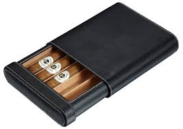 Visol Rennes <b>Black</b> Leather Cigar Travel Humidor - Holds 5 Cigars ...