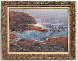 oil on canvas seascape charles j taylor american 1855 1929