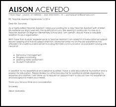 Cover Letter For Teaching Assistant Teacher Assistant Cover Letter Sample Cover Letter Templates