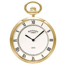 gold plated slim line open face pocket watch with single albert chain