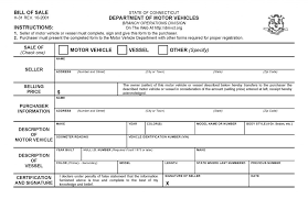 Free Connecticut Vehicle Bill Of Sale Form Pdf Word Do