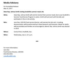 Media Advisory News Release And Media Advisory Kansas Kids Table